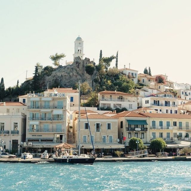 Passing by the beautiful Saronic Isle of Poros this morninghellip