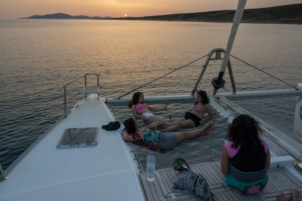 Chilling on the Coboat nets at Sunset