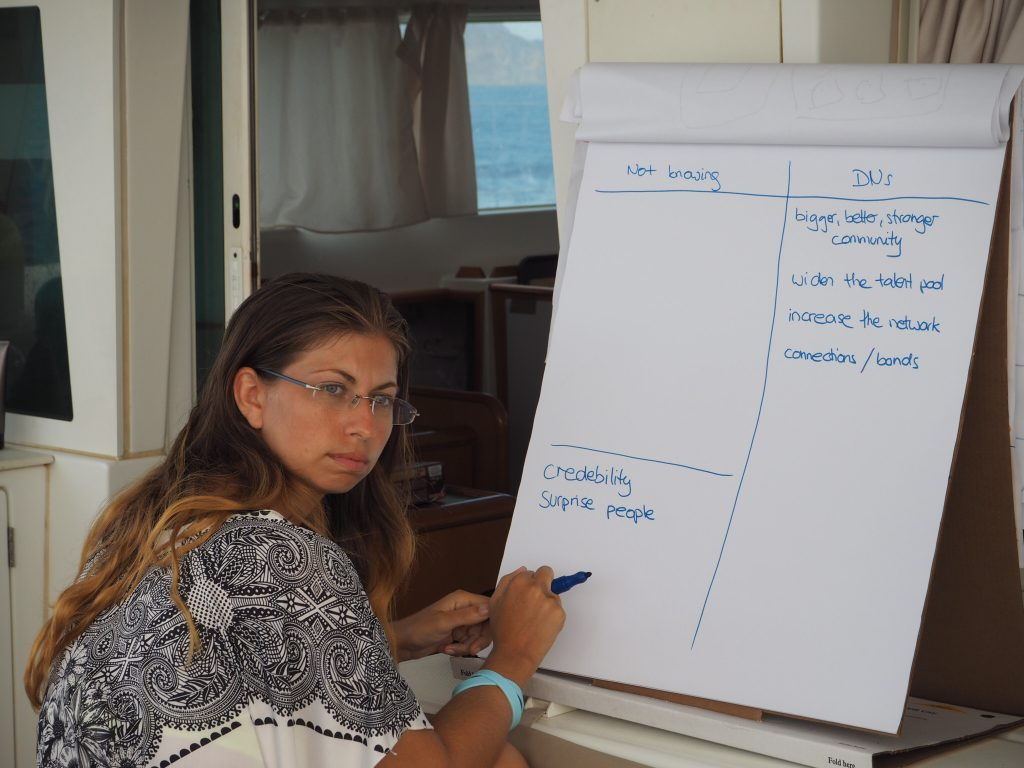 Coboaters help Barbara during an Idea Incubator Session for her project Love Your Digital Nomad