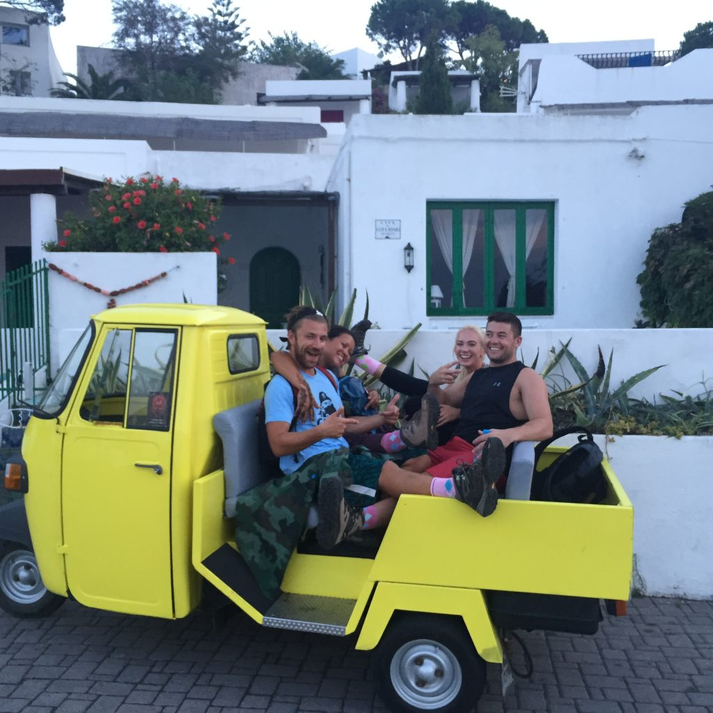 Undoubtedly the best way to travel around Stromboli. Coboaters before their hike up the volcano. (Sorry there is no after photo, just imagine sweaty, broken and tired individuals)